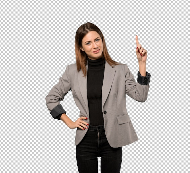 Business woman showing and lifting a finger in sign of the best