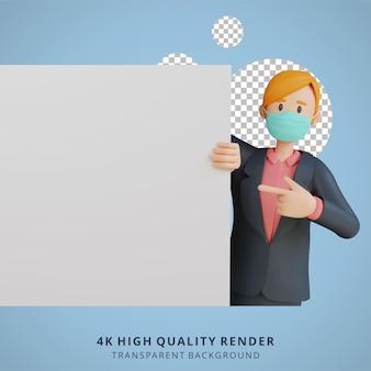 マスク3d文字イラストを身に着けている空白の白いシート文字で何かを示すビジネス女性