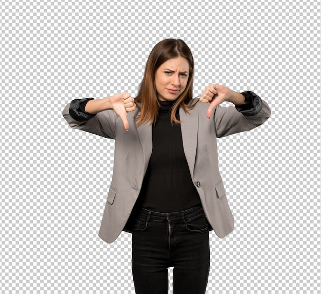 Business woman showing thumb down