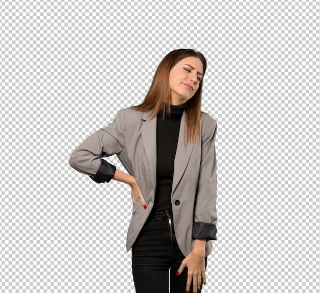 Business woman suffering from backache for having made an effort