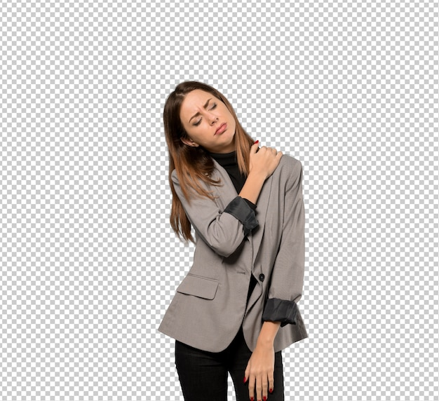 Business woman suffering from pain in shoulder for having made an effort