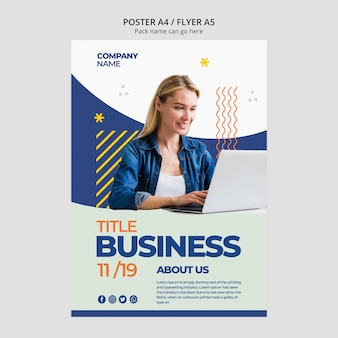 Business woman template for poster