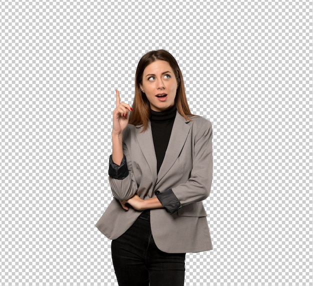 Business woman thinking an idea pointing the finger up