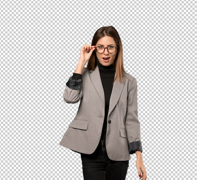 Business woman with glasses and surprised