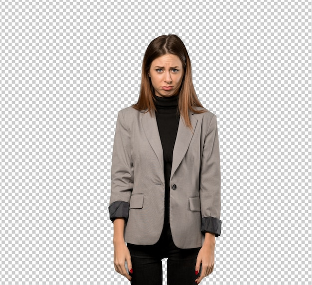 Business woman with sad and depressed expression