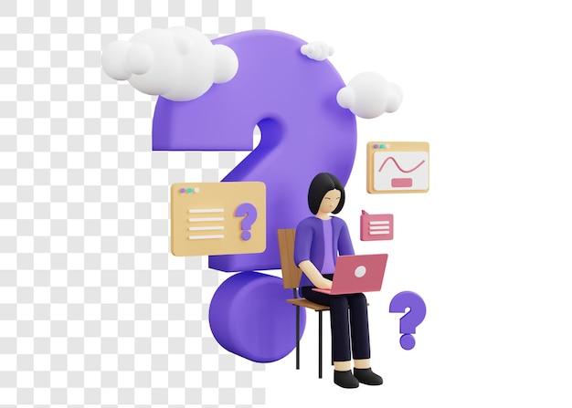 질문 개념 3d 그림을 요구하는 비즈니스 여성
