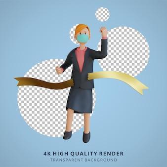 ビジネスウーマンはマスク3dキャラクターイラストを身に着けているフィニッシュラインのキャラクターに到達します