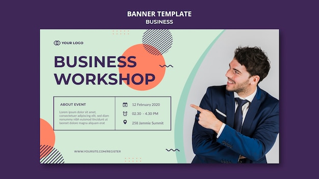 Business workshop concept banner template
