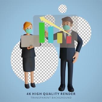 マスク3d文字イラストを身に着けているチャートインクリメント文字を提示するビジネスマンと女性