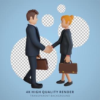 Бизнесмен и женщина, пожимая руки, персонаж, 3d персонаж, иллюстрация