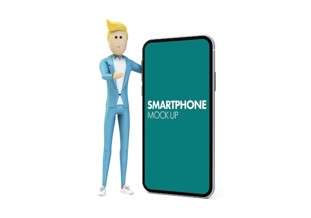 Businessman character showing phone screen mock up