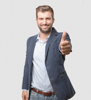 Businessman doing thumbs up gesture