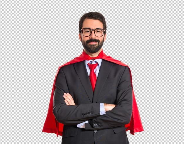 Businessman dressed like superhero