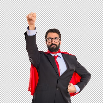Businessman dressed like superhero