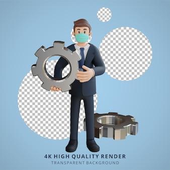 マスク3dキャラクターイラストを身に着けているギアキャラクターを保持しているビジネスマン