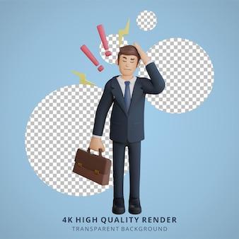사업가는 작업 캐릭터 3d 캐릭터 그림에 대해 어지럽게 생각하고 있습니다.