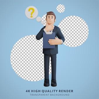 사업가는 생각하고 궁금해하는 캐릭터 3d 캐릭터 그림