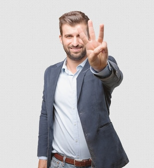 Businessman showing three fingers