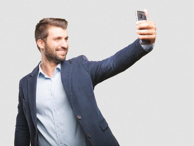 Businessman taking selfie