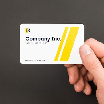Businessman with business card mockup