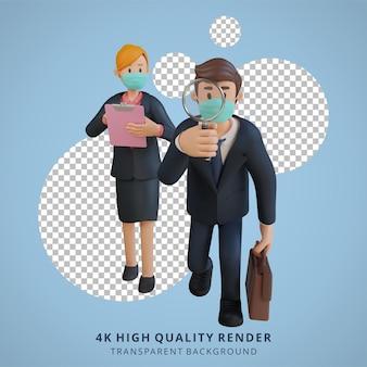 マスク3dキャラクターイラストを身に着けている解決策のキャラクターを探しているビジネスマンと女性