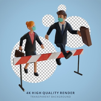 マスク3dキャラクターイラストを身に着けている障害物を越えて走っているビジネスマンと女性