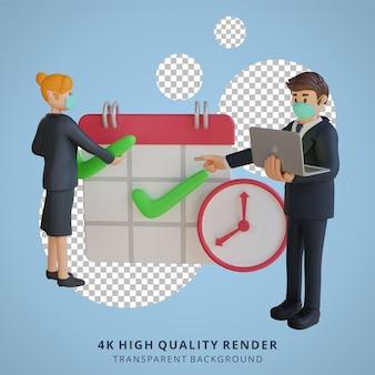 ビジネスマンと女性は、マスク3d文字イラストを身に着けているカレンダー文字に議題を設定します