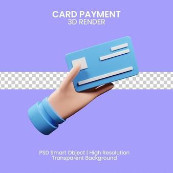 파란색 배경으로 신용 카드를 들고 기업인