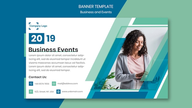 Businesswoman on a banner design template