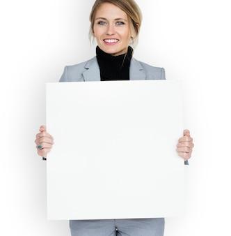ビジネスマン、笑顔、幸福、プラカード、コピースペース、概念