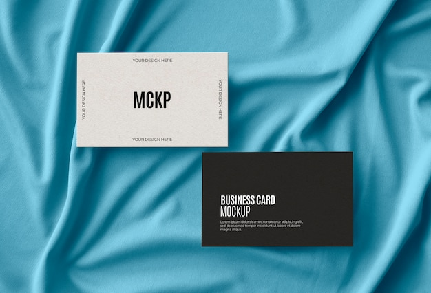 Bussiness card on fabric surface
