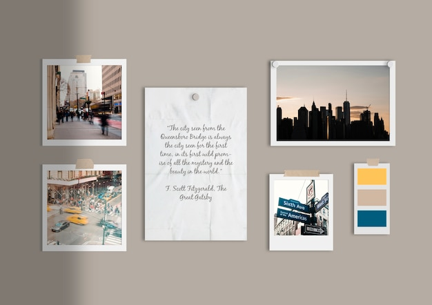 Busy city moodboard template