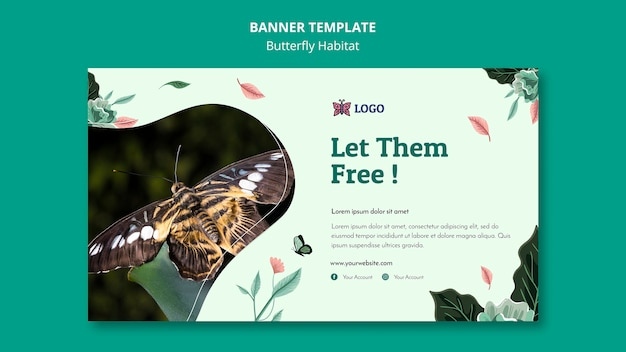 Butterfly habitat concept banner template