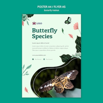 Шаблон флаера с концепцией среды обитания бабочек