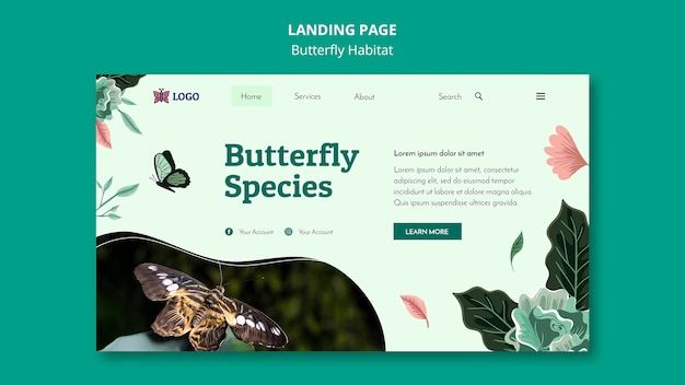 Шаблон целевой страницы концепции среды обитания бабочек