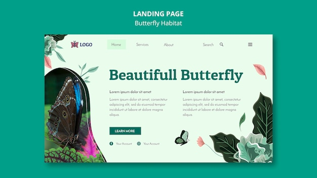 Butterfly habitat concept landing page template