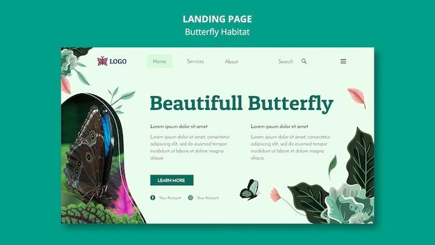 蝶の生息地の概念のランディングページテンプレート