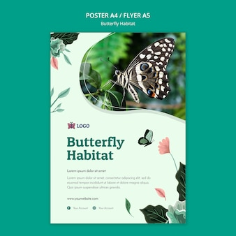 Butterfly habitat concept poster template