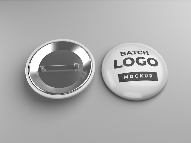 Button badge or pinback mockup design, front and back view