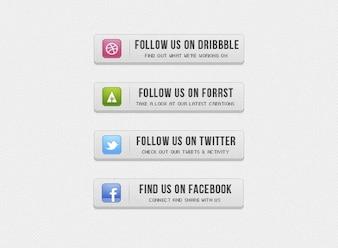 Button buttons facebook grey retro twitter ui