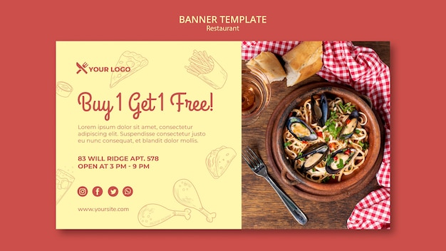 Buy 1 get 1 free banner template for restaurant