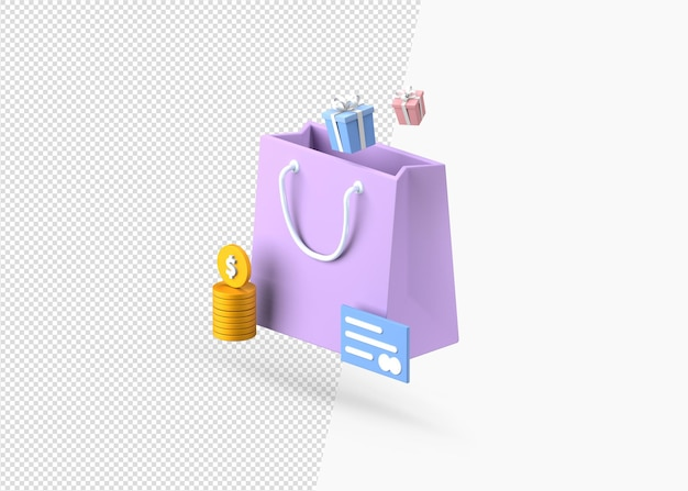 Buy gift with payment isolated 3d rendering