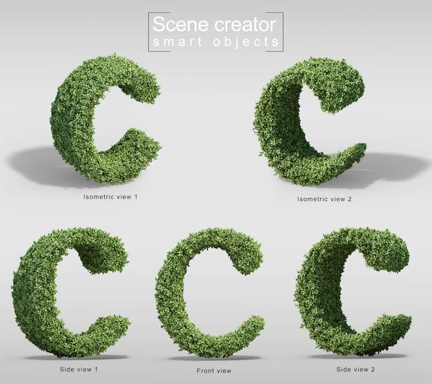 文字cの形の茂みの3 dレンダリング