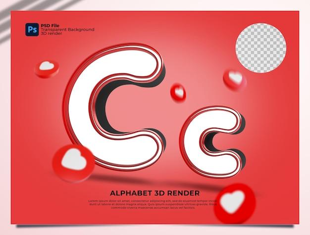 C 알파벳 3d 렌더링 요소와 붉은 색