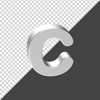 3d 렌더링에서 실버로 만든 c 편지 3d 현실적인 편지 c