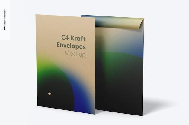 C4 kraft envelopes mockup, front and back view