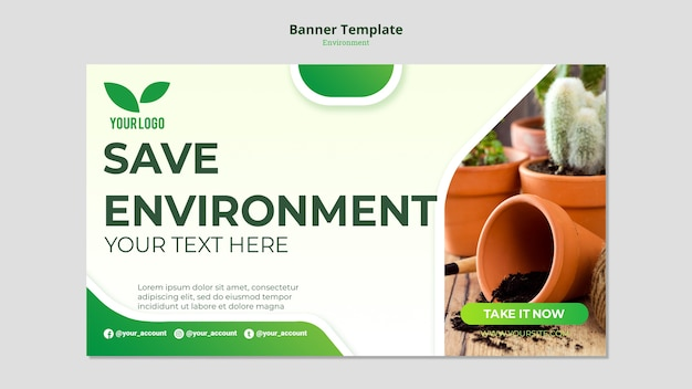 Cacti in pots banner template