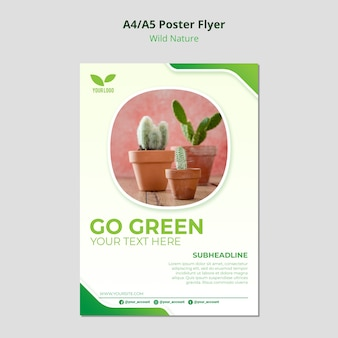 Cacti in pots environmental flyer template