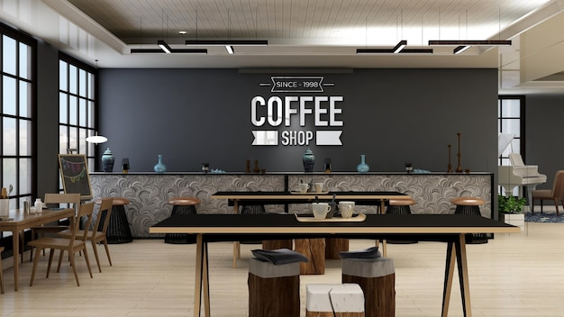 Cafe or coffee shop wall logo mockup in the modern cafe bar room