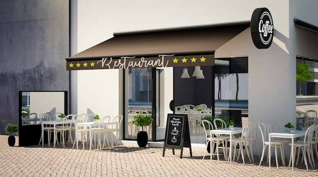 Cafe facade mockup with branding elements